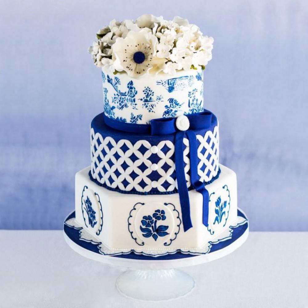 Торт гжель на русскую свадьбу