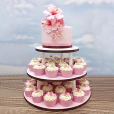 Свадебный торт с капкейками и цветами