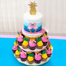 Торт с капкейками и фламинго