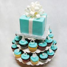 Торт с пирожными на свадьбу в стиле Тиффани