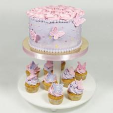 Торт с капкейками и бабочками на свадьбу