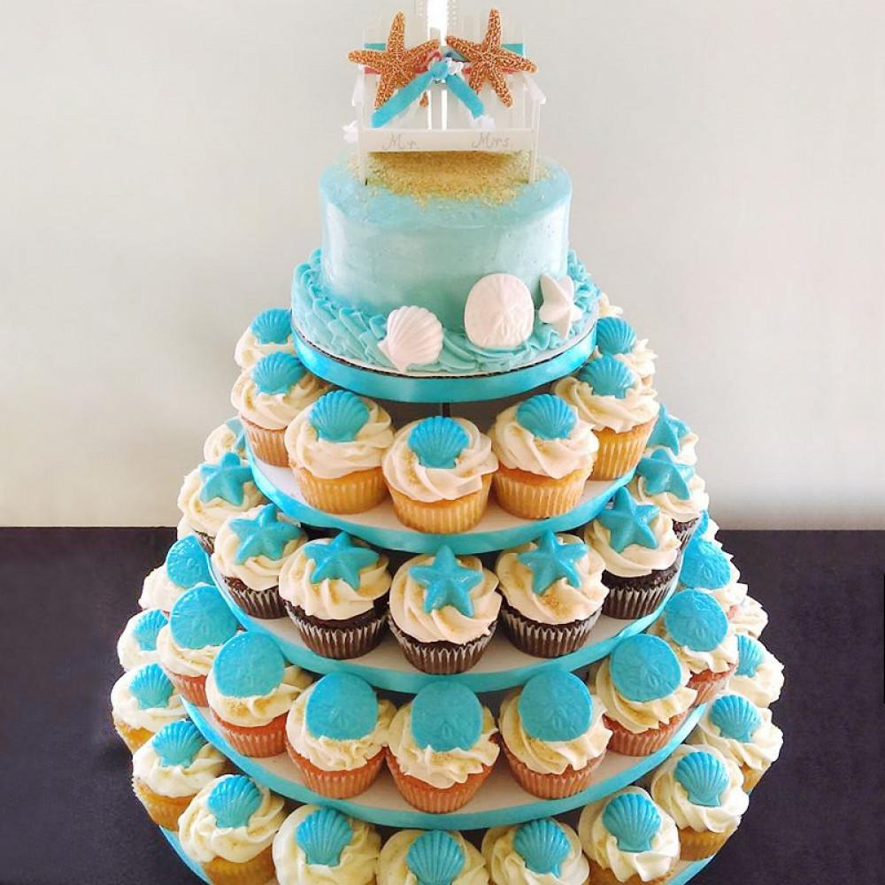 Торт из капкейков на свадьбу в морском стиле