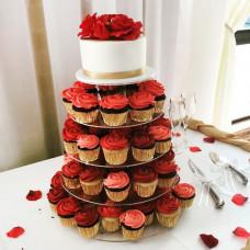 Пятиярусный торт с капкейками на подставке