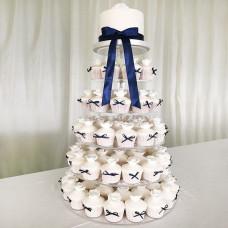 Порционный свадебный торт с бантиками