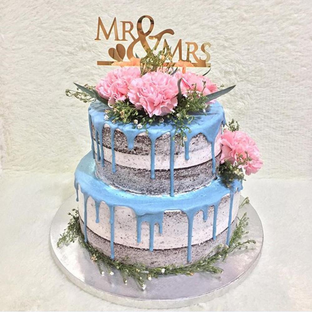 Торт на летнюю свадьбу с открытыми коржами