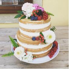 Двухъярусный голый свадебный торт