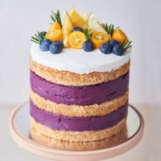 Одноярусный открытый торт на свадьбу