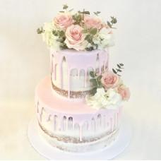 Голый свадебный торт с цветами