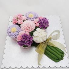Торт свадебный цветочный букет