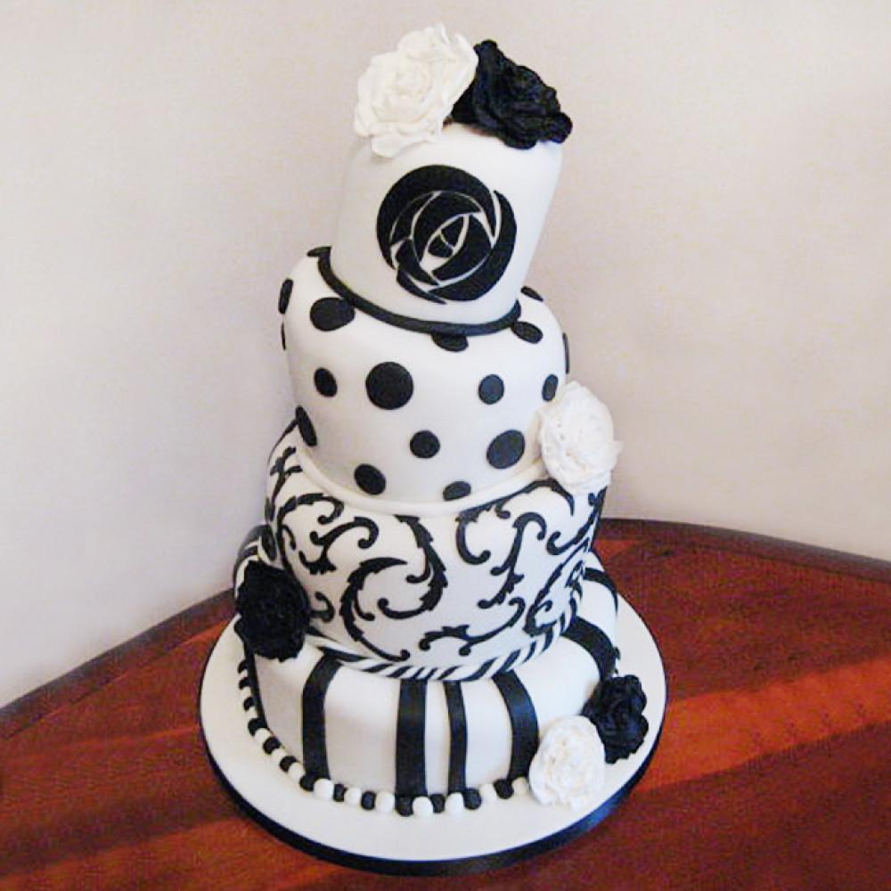 Свадебный торт с эффектом падающих ярусов