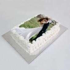 Торт со свадебной фотографией