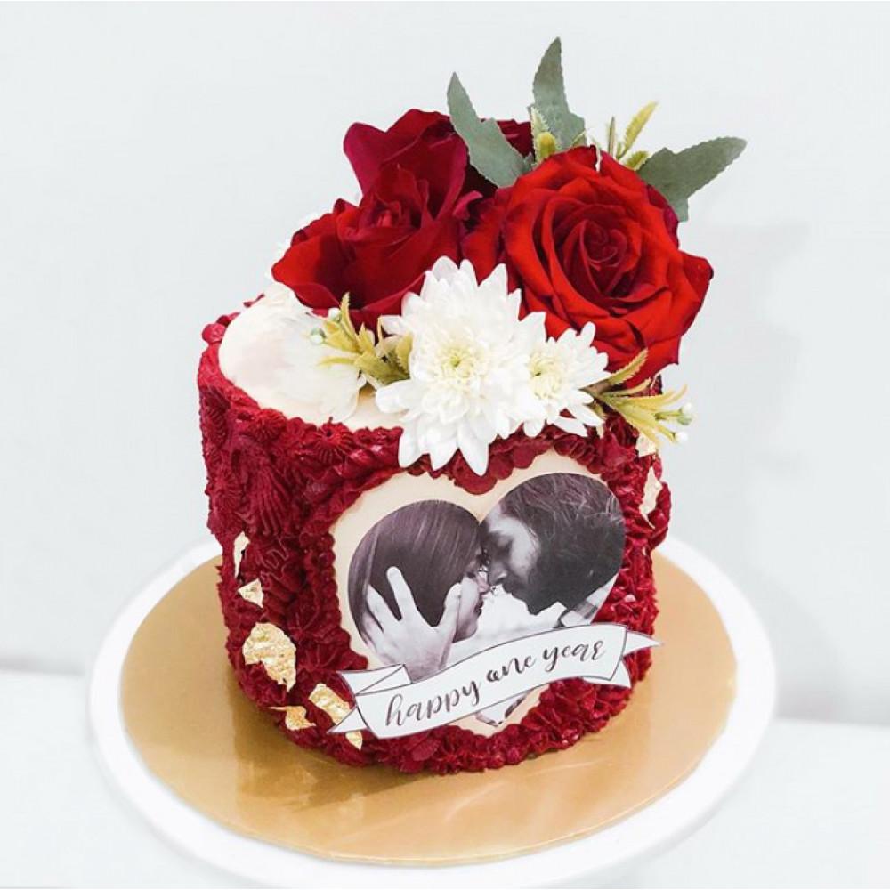 Торт на свадьбу с фотопечатью
